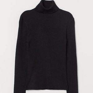 HM - Basic Ribbed Turtleneck Sweater - Black - M